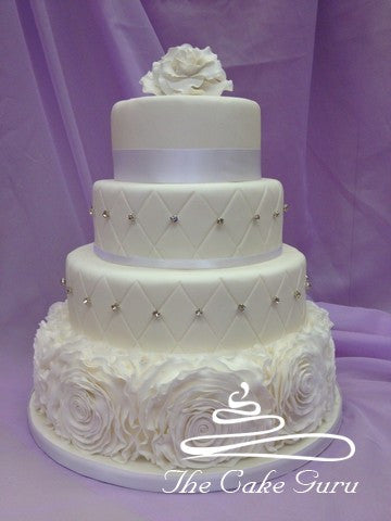 Ruffle Rose 4 Tier Wedding Cake