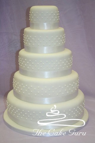 Classic Piped Pearls Wedding Cake