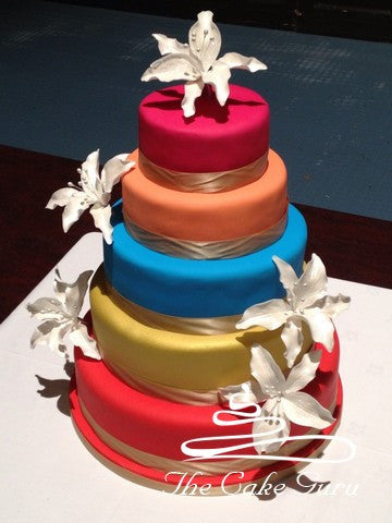 Classic Lily Brightly Coloured Wedding Cake