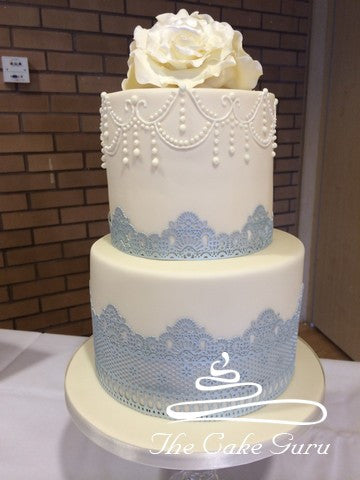 Silver Lace Tall Wedding Cake