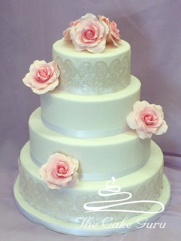 Pink Rose and Pearl Lace Wedding Cake