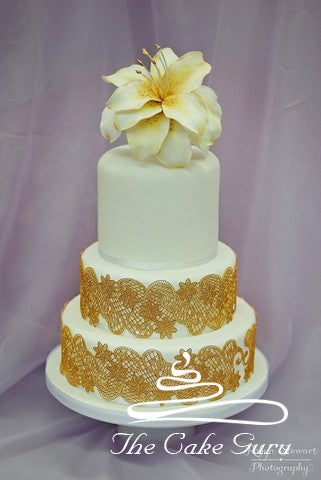 Golden Amaryllis Wedding Cake