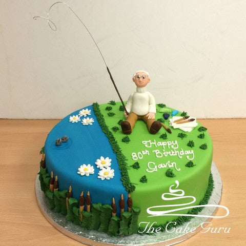 Fishing Fan Birthday Cake