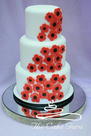 Red Poppies Wedding Cake