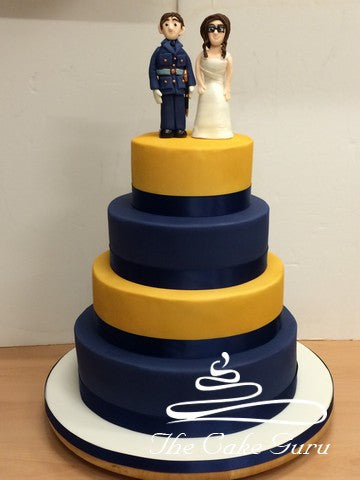 Gold and Navy Wedding Cake