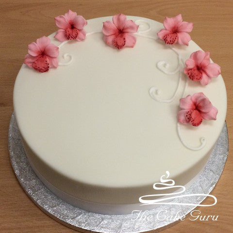 Pink Orchids Birthday Cake