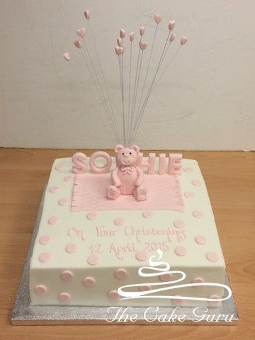 Pink Teddy on Blanket Cake