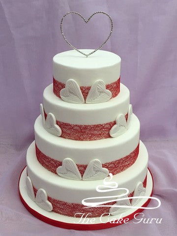 Textured Hearts Wedding Cake
