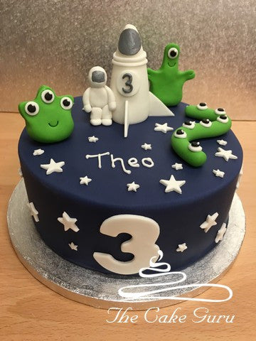 Spaceman and Aliens Birthday Cake