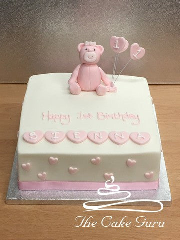 Teddy and Hearts Birthday Cake