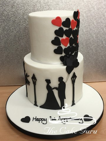 Silhouette Couple Anniversary Cake The Cake Guru