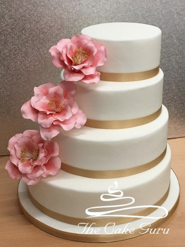 Pink and Gold Camellia Wedding Cake