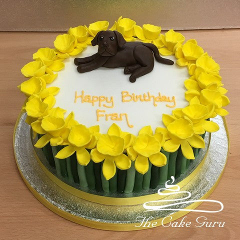 Labrador and Daffodils Birthday Cake