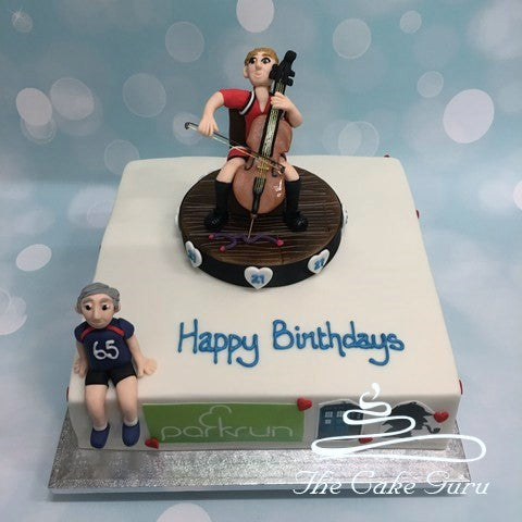 Cello Player and Runner Joint Birthday Cake