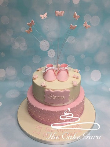 Booties and Butterflies Christening Cake