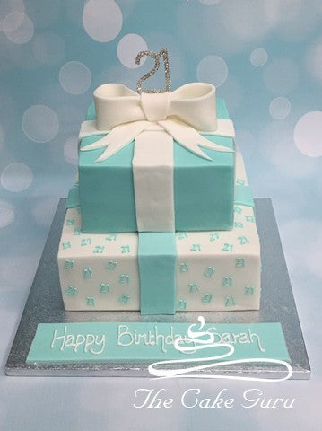 Double Tier Aqua Birthday Cake