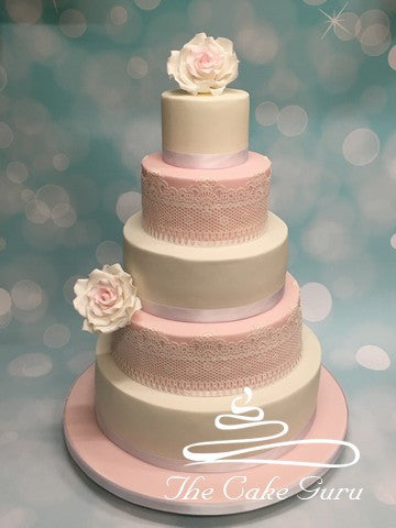 Pastel Pinks and Lace Wedding Cake