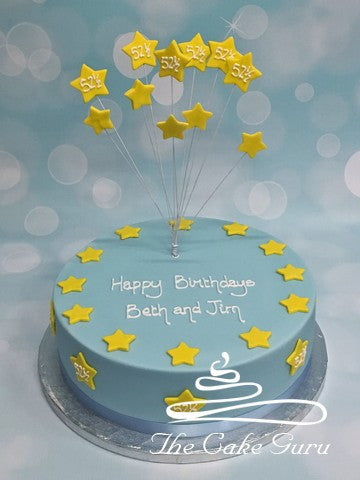 Joint Birthday Stars Spray Cake