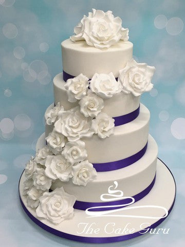 Rose Cascade with Purple Banding Wedding Cake