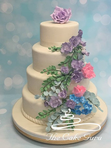 Pastel Flowers and Succulents Wedding Cake