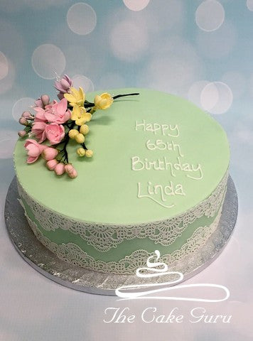 Freesias and Lace Birthday Cake