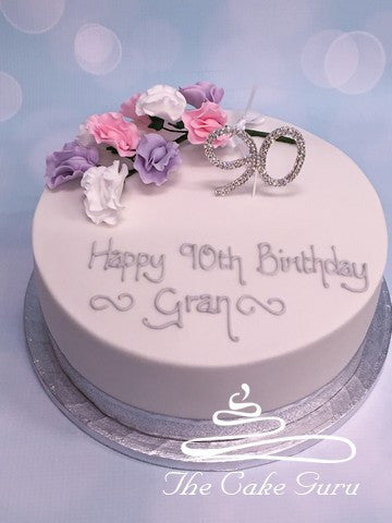 Sweet Peas and Diamante Number Cake