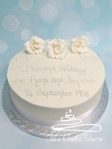 Diamond Wedding Rose Trio Cake