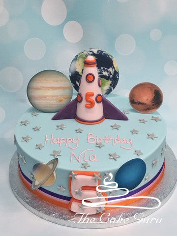 Space Rocket and Planets Birthday Cake