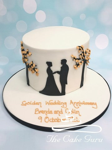 Golden Trees with Silhouetted Couple Anniversary Cake