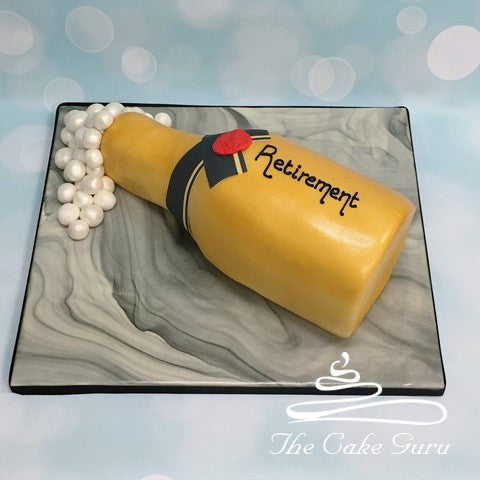 Champagne Bottle Retirement Cake