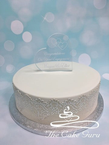 Personalised Acrylic Heart Engagement Cake