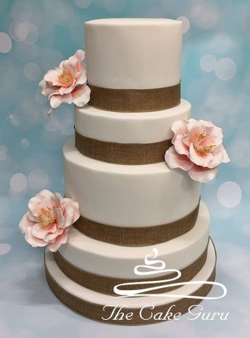 Pastel Camellias Wedding Cake