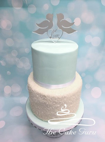 Silver Love Birds Wedding Cake