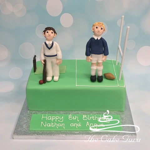 Cricket and Rugby Player Joint Birthday Cake