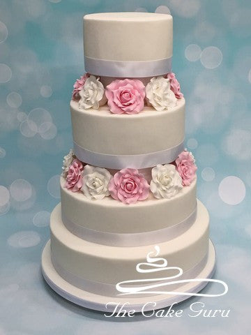 Pastel Pink and White Rose Separator Wedding Cake