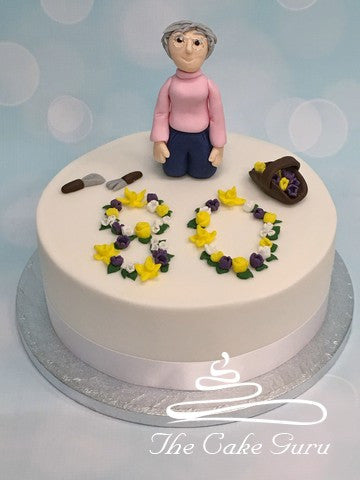 Spring Flowers Gardening Lady Birthday Cake