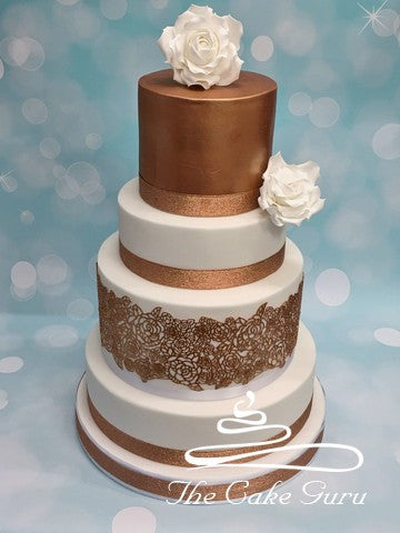Metallic Bronze Lace Wedding Cake
