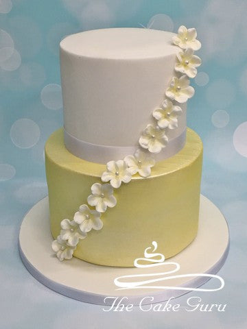 Shimmering Ivory Wedding Cake