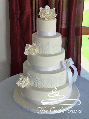 Ivory with White Lace Wedding Cake