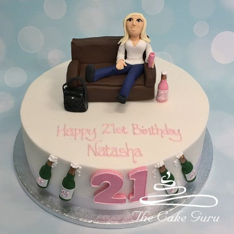 Incredible Girls 21St Birthday Cake The Cake Guru Personalised Birthday Cards Veneteletsinfo