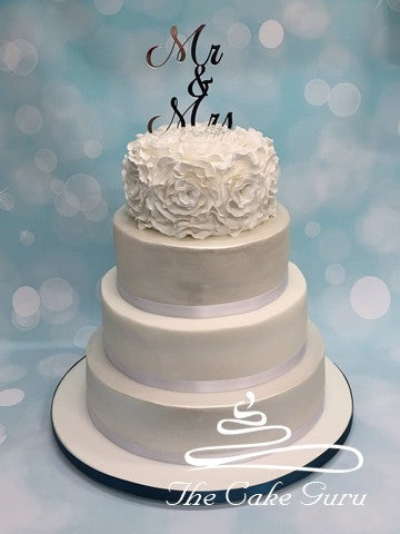 Ruffle Rose Top Tier Wedding Cake