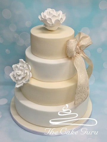 Ivory and White Contrast Wedding Cake