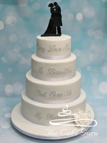 """Every Love Story Is Beautiful"" Wedding Cake"