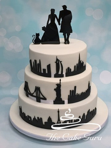 Silhouette Skylines Wedding Cake