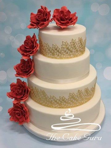 Deep Orange Roses Wedding Cake