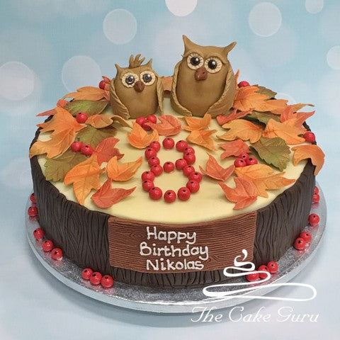 Owls and Leaves Birthday Cake
