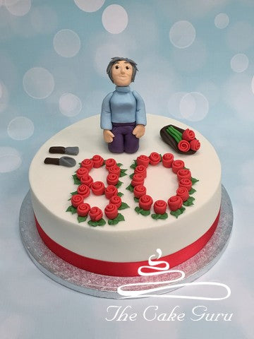 Red Roses Gardening Lady Birthday Cake