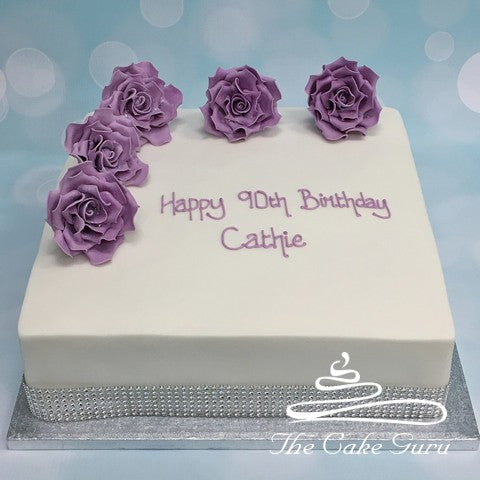 Lilac Feature Roses Birthday Cake
