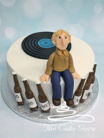 Vinyl Record and Beer Birthday Cake