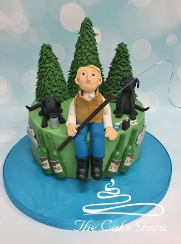 Fisherman with Labradors Birthday Cake